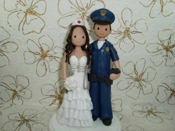 Personalized Police Officer And Nurse Wedding Cake Topper
