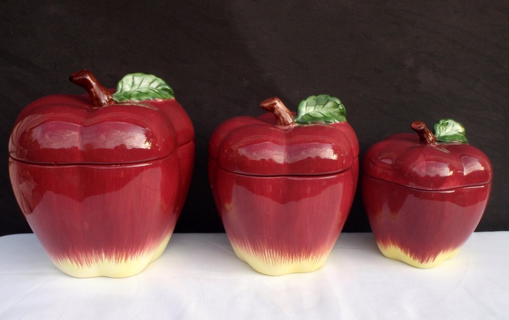 ceramic kitchen canisters sets on sale apple jars vintage set of 3 red fine ...