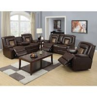 Two-Tone Brown Reclining Sofa, Loveseat & Chair, 3pc. Set ...