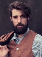 undercut men hairstyle with beard