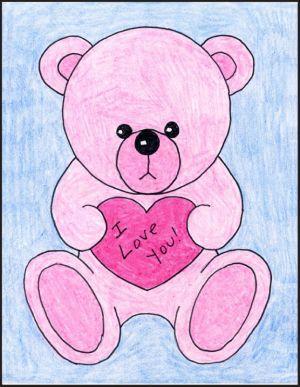 draw bear teddy valentine valentines drawing boyfriend easy artă lecții crafts hearts gift