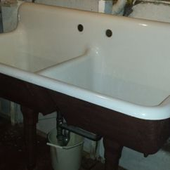 Undermount Kitchen Sinks Lowes Free Standing Pantries 1940 Vintage American Standard Double Basin Porcelain Over ...