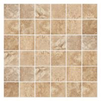A mosaic of light brown ceramic tiles with swirls of bone ...
