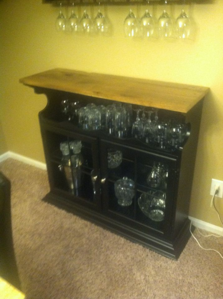Bar Cabinet Made From Repurposed Hutch Top Turned Upside