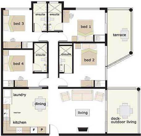 4 bedroom house floor plan 1 story  New House Plans