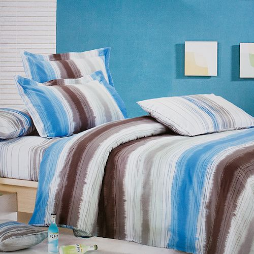 Blue Amp Brown Stripe Teen Boy Bedding King Size Duvet Cover Set Blue And Brown Duvet Cover