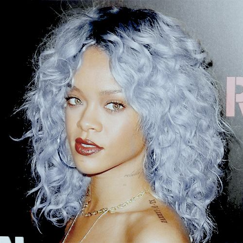 Lovely Rihanna With Dyed Pastel Blue Pastel Purple Hair