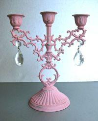 Vintage Pink Candelabra, Candle Holder, Crystals, Shabby ...