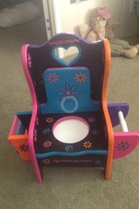 Unfinished girls potty chair with magazine rack and toilet ...