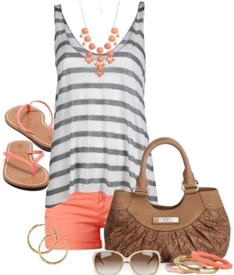 Cute summer outfit and summer colors outfit ideas.