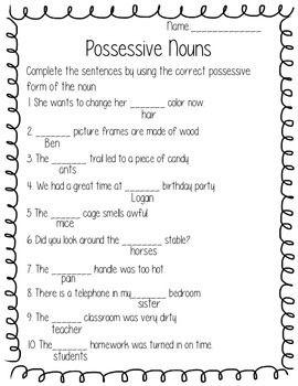 All Worksheets  Singular And Plural Possessive Nouns