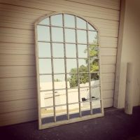 Arched Window Pane Mirror, Arched Window Mirror, White ...