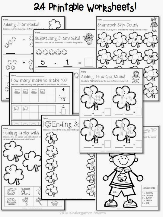 St. Patrick's Day quick and easy printable math and