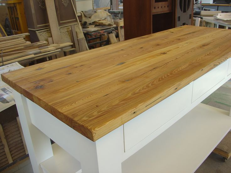 reclaimed wood kitchen tables cabinet installation heart pine workbench top. | custom ...
