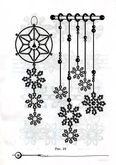 Beaded Snowflake hanging ideas, easy patterns to figure