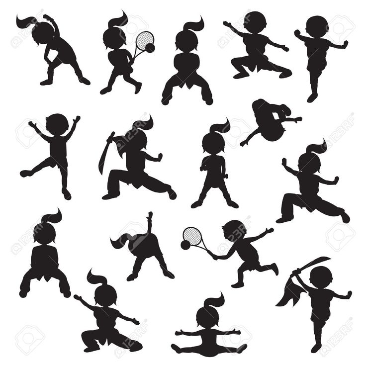 15481837-Silhouettes-of-children-goes-in-for-sports-Stock