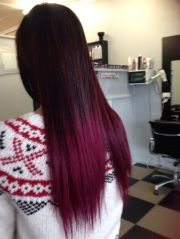 bleached black hair with fushia