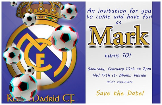 3D Real Madrid Birthday Invitation WEAR ON YOUR 3D