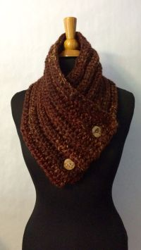 Cowl Scarf for Men - Chunky Knit Button Scarf - Knit ...