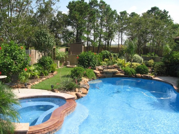 landscaping pool. plants
