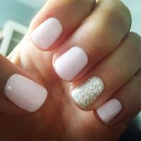 Light pink and gold glitter gel mani | Nailed It ...
