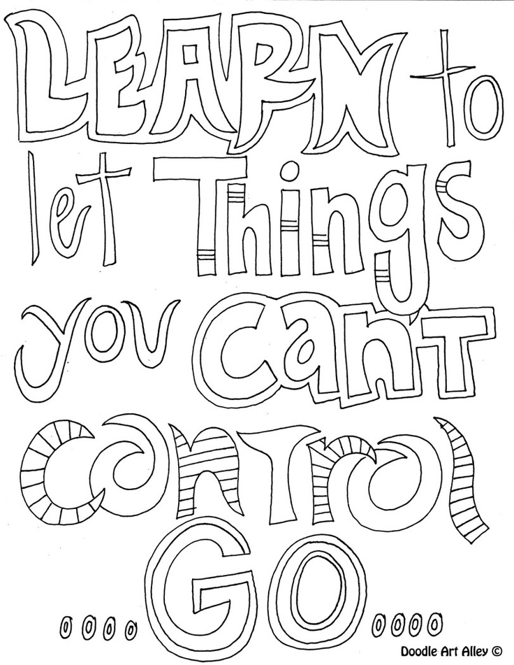Coloring book page: Learn to let things you can't control
