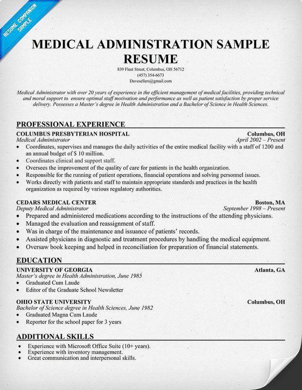 Medical Administration Resume resumecompanioncom