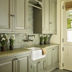 Repainting Kitchen Cabinets Upper With Glass Doors Laundry Room | Haven Pinterest Green Cabinets, Cabinet ...