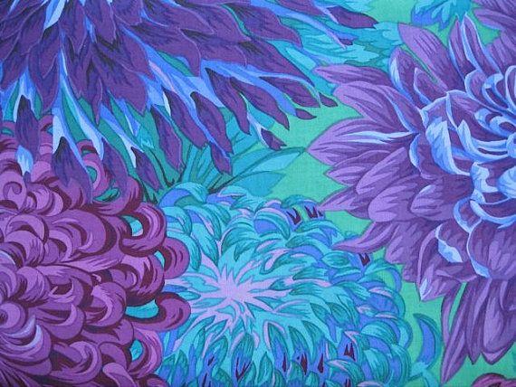 Blue Purple Turquoise large Japanese Chrysanthemum by