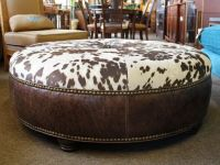 Unique large round western style coffee table size ottoman ...