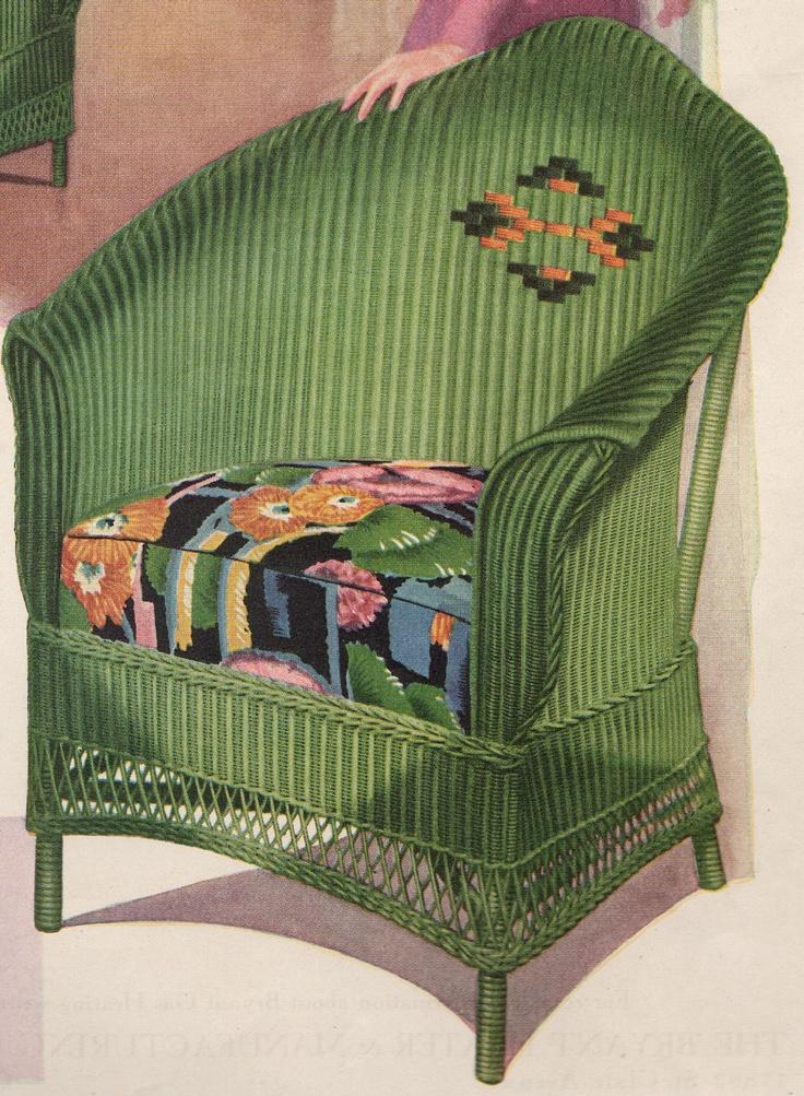 1930 Vintage Advertising Green Wicker Chair vintage