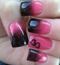 Ombre black pink hearts nail design | Nail Art Gallery ...