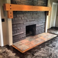 Fire place. Solid wood mantle, slate hearth. | ideas ...