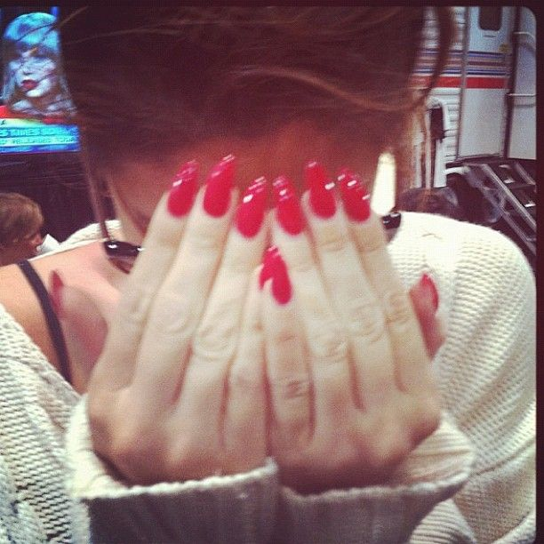 Red Almond Nails  Nails  Pinterest  Almonds Almond