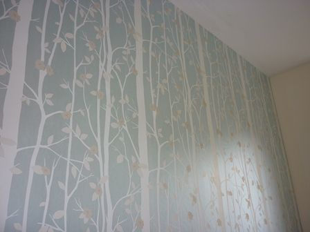 Laura Ashley Cottonwood Duck Egg Leaf Wallpaper