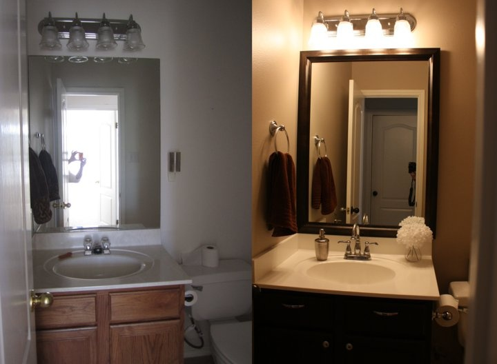 Powder room beforeafter Painted the walls resurfaced