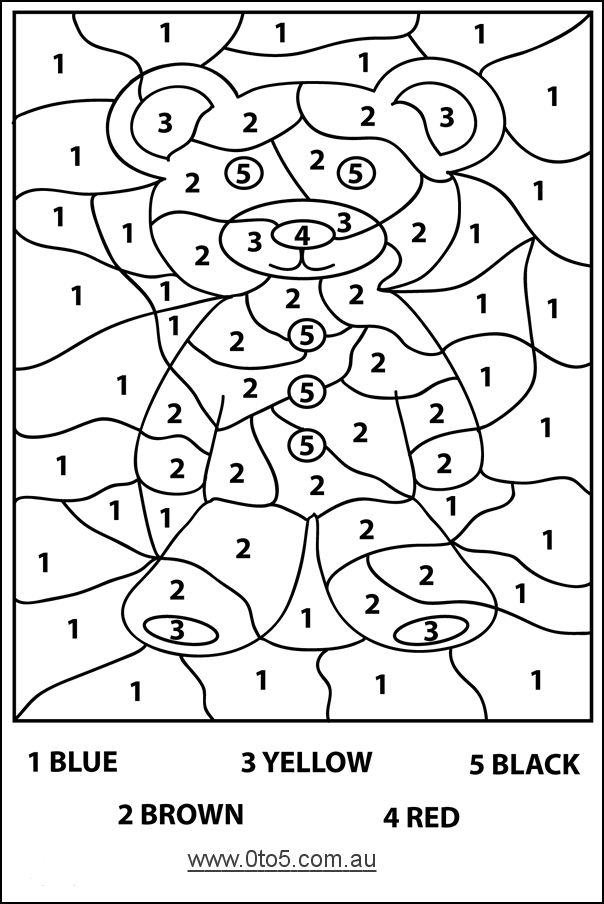 Harder color by number bear page....Preschool Teddy Bear