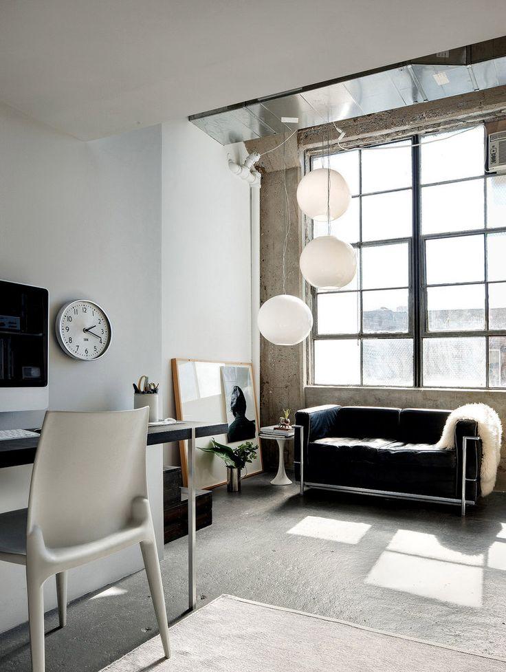 The Le Corbusier sofa in this Brooklyn Bushwick loft