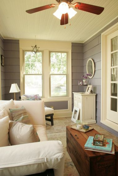 3 Season Room With Gray Walls And Alabaster Trim Ivory