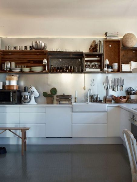 open rustic kitchen cabinets Kitchen with white lower cabinets and open wood shelving