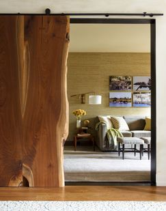 Love this slab wood barn-type door!   ~ ♥