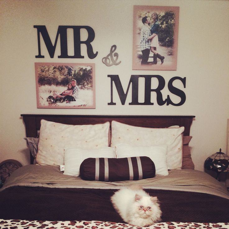 Mr  Mrs Letters above my bed Super easy and cheap Got the letters from Hobby Lobby 24 for