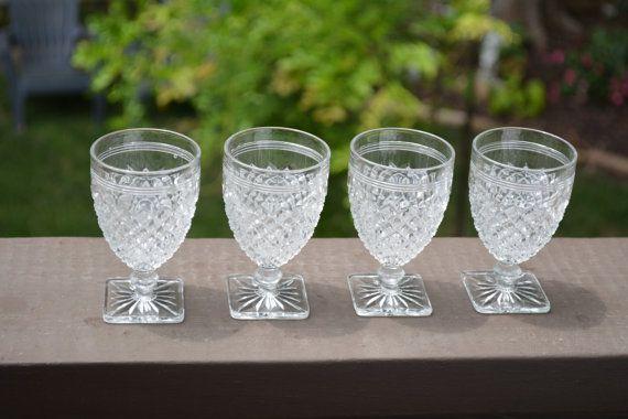 Vintage Stemware Square Foot Stemware Pressed Glass Wine Glass Sherbet Dish  FLORAL VESSELS