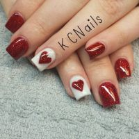 Valentines Day acrylic nails. Red ans white nails with a ...