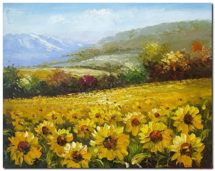 diy canvas art for living room beautiful paint ideas flower field landscape oil painting italian tuscany ...