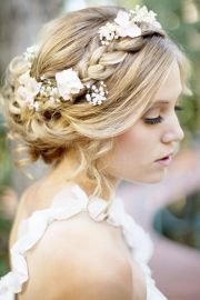 soft curls in updo - boho chic