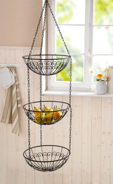 hanging kitchen basket Features: -Use: Indoor, home decor, storage. -Wire hanging