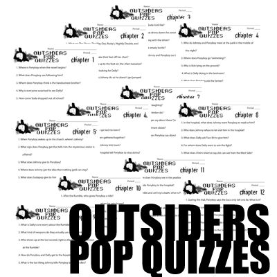 OUTSIDERS 12 Pop Quizzes (printable assessments) This 24