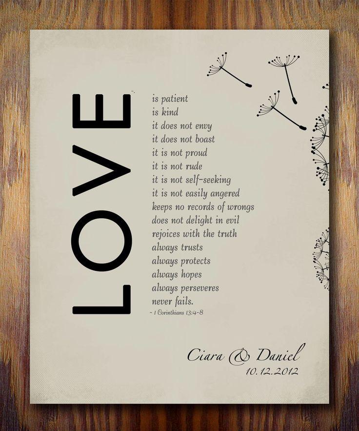 1st Wedding Paper Anniversary Gift Print 1 Corinthians 13