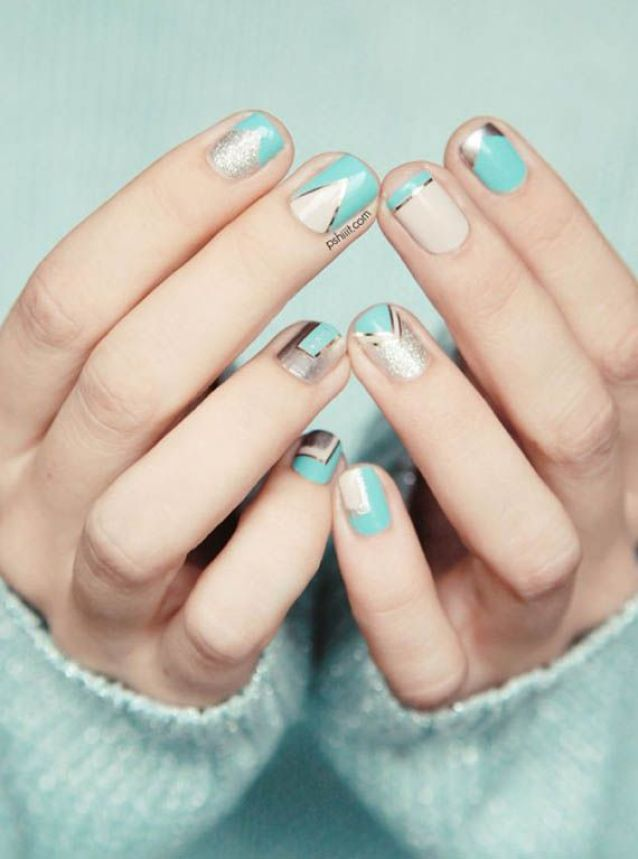 56 Ideas para que pintes tus uñas color celeste - light blue nails | Decoración de Uñas - Manicura y NailArt: